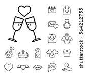 champagne glasses couple line...   Shutterstock .eps vector #564212755