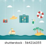 summer composition with flat... | Shutterstock .eps vector #564216355