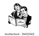 couple with photo album   retro ... | Shutterstock .eps vector #56422462