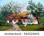 spring  three  house  oil... | Shutterstock . vector #564224641