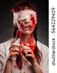 medical woman nurse with bloody ... | Shutterstock . vector #564229429