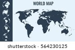 world map with globes.... | Shutterstock .eps vector #564230125