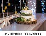 wedding cake in rustic style... | Shutterstock . vector #564230551