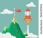 red flag on the mountain peak... | Shutterstock .eps vector #564235441