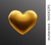 gold heart isolated on...