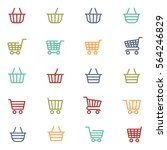 colorful shopping baskets thin... | Shutterstock .eps vector #564246829