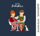 couple having dinner on a dark... | Shutterstock .eps vector #564246949