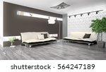 modern bright interior . 3d... | Shutterstock . vector #564247189