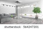 modern bright interior . 3d... | Shutterstock . vector #564247201