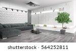modern bright interior . 3d... | Shutterstock . vector #564252811