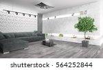 modern bright interior . 3d... | Shutterstock . vector #564252844