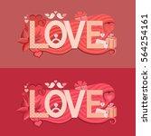 typography valentines day.... | Shutterstock .eps vector #564254161