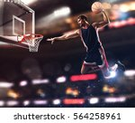 basket player throws the ball... | Shutterstock . vector #564258961