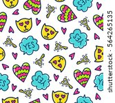 doodles cute seamless pattern.... | Shutterstock .eps vector #564265135