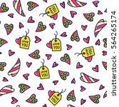doodles cute seamless pattern.... | Shutterstock .eps vector #564265174