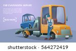 roadside assistance. employee... | Shutterstock .eps vector #564272419