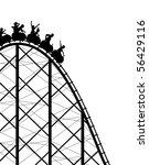 Editable vector silhouette of a steep rollercoaster ride - stock vector