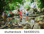 group of tourists holding hands ... | Shutterstock . vector #564300151