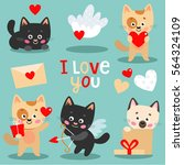 set of cute kitten with hearts... | Shutterstock .eps vector #564324109