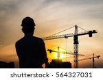 portrait of engineer silhouette ... | Shutterstock . vector #564327031