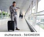 businessmen walk call phone... | Shutterstock . vector #564340354