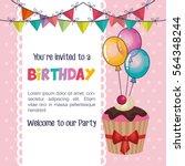 happy birthday party invitation ... | Shutterstock .eps vector #564348244