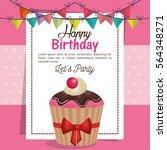 happy birthday party invitation ... | Shutterstock .eps vector #564348271