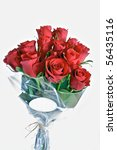 Stock photo bunch of red roses with label for text 56435116