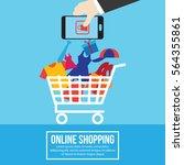 online shopping illustration | Shutterstock .eps vector #564355861