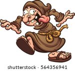 crazy cartoon monk. vector clip ... | Shutterstock .eps vector #564356941