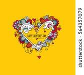 happy valentine's day hand... | Shutterstock .eps vector #564357079