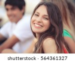 portrait of a happy latin girl... | Shutterstock . vector #564361327