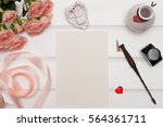 mockup. cards and flowers ... | Shutterstock . vector #564361711