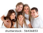 happy group of friends wearing... | Shutterstock . vector #56436853