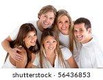 happy group of friends wearing... | Shutterstock . vector #56436853
