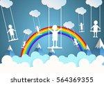 children play swings on sky... | Shutterstock .eps vector #564369355