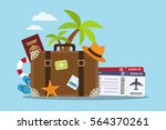 composition with a suitcase and ... | Shutterstock .eps vector #564370261