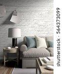modern bright interior . 3d... | Shutterstock . vector #564373099