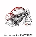 abstraction of a clockwork  a... | Shutterstock .eps vector #564374071