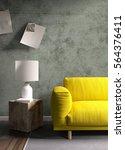 modern bright interior . 3d... | Shutterstock . vector #564376411