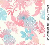summer exotic floral tropical... | Shutterstock .eps vector #564379405