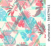 summer exotic floral tropical... | Shutterstock .eps vector #564379411