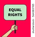 female hand holding banner of... | Shutterstock .eps vector #564383785