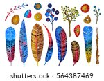 watercolor colorful hand... | Shutterstock . vector #564387469