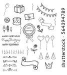 hand drawn set of birthday... | Shutterstock .eps vector #564394789