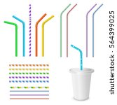 straw for beverage. striped and ... | Shutterstock .eps vector #564399025