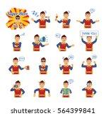 big set of superhero emoticons... | Shutterstock .eps vector #564399841