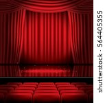 open red curtains with seats... | Shutterstock . vector #564405355