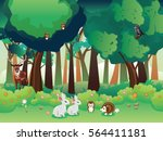 Cartoon Summer Forest Landscap...