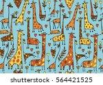 funny giraffes sketch  seamless ... | Shutterstock .eps vector #564421525